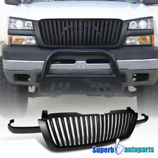 For 2003-2005 Silverado 3pcs ABS Vertical Front Grill Hood Grille Black