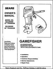 Sears Gamefisher 25HP 225.582500 & 225.582590 Operator Maintenance Parts Manual