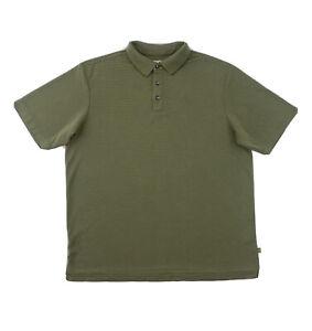 Tommy Bahama Polo Shirt Men's Medium Short Sleeve Polyester Green Golf Button Up