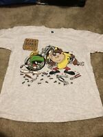 Vintage Looney Tunes Marvin the Martian Taz Gray T-Shirt Size Large Bike Repair