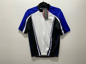 hincapie cycling jersey 1/2 Zip Mens medium white/black/blue  New ! with tags!
