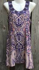Free People Womens 4 Babydoll Dress Crochet Beaded Purple Paisley Cotton Q18