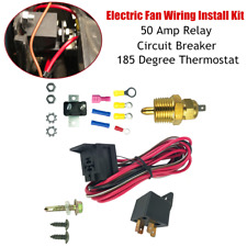 Electric Cooling Fan Wiring Install Kit 185°Thermostat Temperature 50A Relay Kit