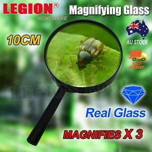 10cm Large Magnifying Glass Magnifier Handheld Loupe Reading Optical Clarity AU
