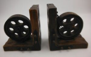 Vintage 70's Wood Bookends Spanish Wheels Chain Nails Spain