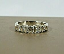 VTG SIGNED DQCZ 925 STERLING SILVER ICY DIAMONIQUE 5 STONE STACK RING S7 IN EVC