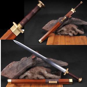 Handmade Rosewood Chinese Sword Han Jian Damascus Folded Steel Blade Sharp