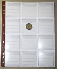 FOGLI per MONETE da 12 CASELLE inserto UNI masterphil PACCO 10 FOGLI pagine