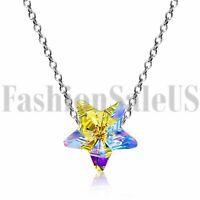 Womens Aurora Pentagram Made with Swarovski Elements Crystals Pendant Necklace