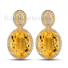 Jewelry Sets Solid 14Kt Yellow Gold Diamond Oval 10x12mm Yellow Citrine Earrings