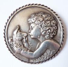 Broche médaillon médaille signée THENOT Art Deco vers 1930 Faune Satyre