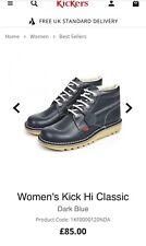 BNIB Kickers Kick Hi Classic Boots Ladies Women's Blue Uk5 Eur38