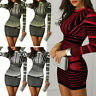 Women Long Sleeves Bodycon Striped Printed Zipper Party Evening Club Mini Dress