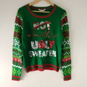 Not Another Ugly Christmas Sweater Sequin Bales Tassel Green Junior size M