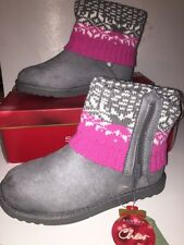 """SONOMA L+S Toddler Girls' """"LUMI"""" Foldover Sweater Boots GREY Size 2M NEW Boxed"""