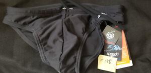 """Mens Sz 32 Speedo Solar 1"""" Cut Brief Bikini Swimsuit Solid Black wvwvwv"""