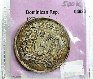 1937 Dominican Republic Silver 1/2 Half Peso ☆Low 500K Mintage☆  BXD5