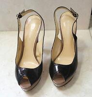 Enzo Angiolini platform tri-tone open toe slingback high heels pumps