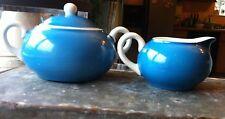 Vtg. Roesler Blue Creamer & Sugar Bowl with Lid Marked RMR Hedge Rose in Shield