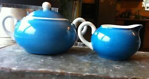 Vintage Max Roesler  Creamer & Sugar Bowl with Lid Blue & White Germany