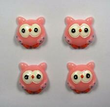 BB FLATBACKS CUTE ROUND PINK OWLS pk of 4 resin flatback hair bows owl animal