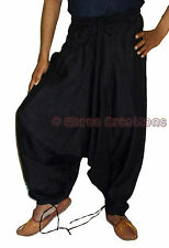Men Cotton Black Harem Yoga Pants Women Sports Harem Trouser Hippie Genie SC2