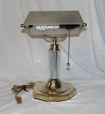 Vtg Art Deco Brass Bankers Desk Lamp with Ribbed Frosted Glass Shade & Body