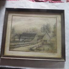 Cadre en bois brun foncé sous verre avec dessin à l'encre d'une ferme  - signé e