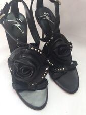 Giuseppe Zanotti Sandals Shoes Rosette Leather Black US 6 36 SARAGEIN $750