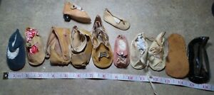 ANTIQUE! LOT of UNPAIRED  OIL CLOTH SHOES For COMPOSITION &  BISQUE BABY PARTS
