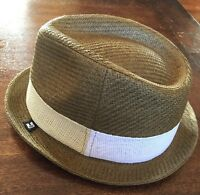B Block Headwear NEW Brown Men/'s Size M Braided 100/% Straw Fedora