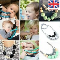 Silicone Teething Beads Chew Necklace Bracelets Teether BPA Free Autism ADHD Kid