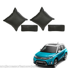 Car Seat Neck Rest & Cushion Pillow Kit Combo (Black) Maruti vitara brezza