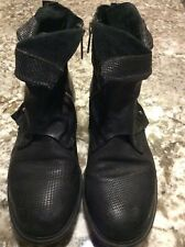 A.S.98 Black Leather Studded ankle boots, size 39
