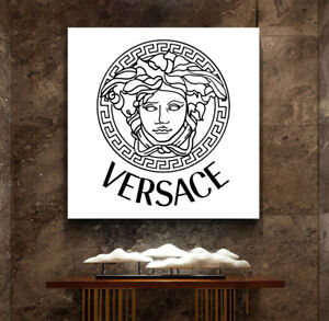 VERSACE PRINT ON STRETCHED CANVAS PRINTS WALL DECOR HOME GLAMOUR ELEGANT FASHION