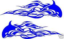 """Whale Flames Tribal Vinyl Car Decals or Boat, Truck Graphics (2 - 34"""" x 10"""")"""