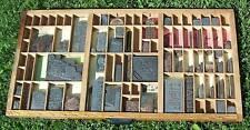"Letterpress 32+"" Art Wall Hanging Vintage Hardwood Type Drawer, Printing Dies"
