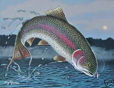 Rainbow Trout Fish Print 11 x 14 by Doug Walpus Watercolor Fly Fishing Art