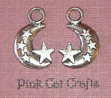 10 x Tibetan Silver CRESENT MOON & STARS 3D Charms Pendants Beads