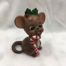 Vintage Ceramic Josef Originals Mouse Figurine- Christmas - Holly -Candy Cane