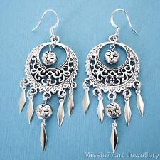 Serene Moon Face Women's Silver Plated Earrings Surgical Steel Earwires