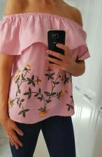 Pink Embroidered Bardot Top Size Medium  (10-12) BNWT