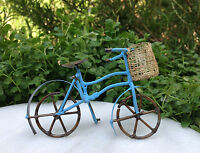 Miniature Dollhouse FAIRY GARDEN ~ Small Rustic Blue Metal Bicycle with Basket