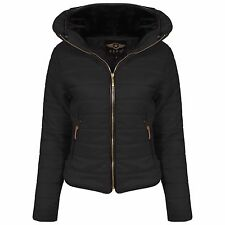 New ladies jacket Quilted Padded Puffer Fur Collar Warm Bubble Womens Puffa Coat