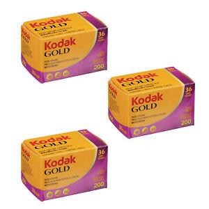 3 Rolls Kodak GOLD 200 Color Print Negative Film 35mm 36-Exposures ISO200