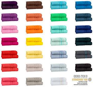 2er Set Badetücher 100x150 oder Saunatücher 80x200 Frottee 100% Baumwolle 500gsm
