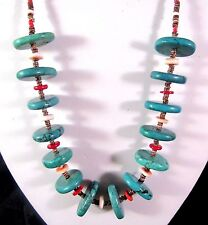 Vintage Necklace Turquoise Stones Brown Red Shell Heishi Beads 22 Inches