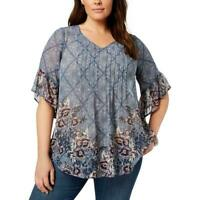 Style & Co Blue Printed Pintuck V-Neck Ruffle Cuff Tunic Top Blouse $59 C1120