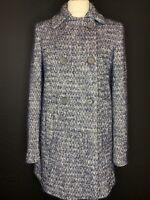 Zara Ladies Wool Blend Blue Tweed Coat Size M ( G3)