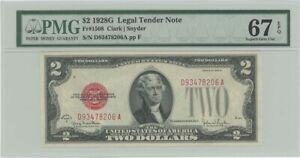 1928G $2 Legal Tender FR#1508 PMG 67 EPQ Superb Gem